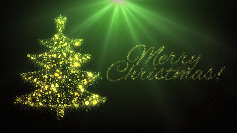 Green Christmas tree with Merry Christmas text Animation