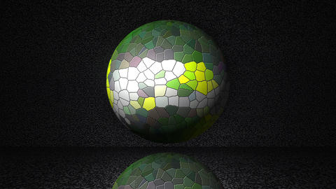 Magic sphere from mosaic on abstract background with reflection below, computer Live Action