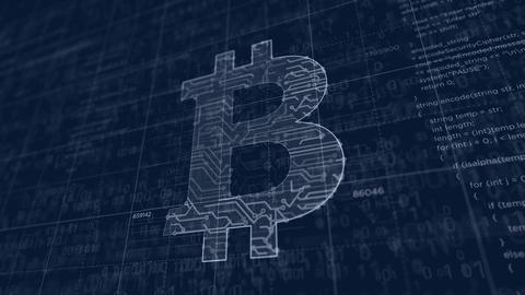 Bitcoin symbol futuristic sketch Animation