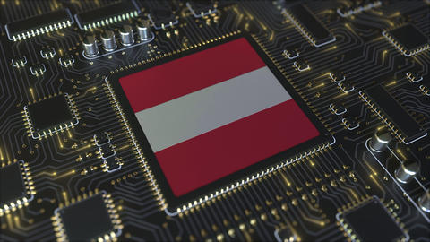 Flag of Austria on the operating chipset. Austrian information technology or Live Action