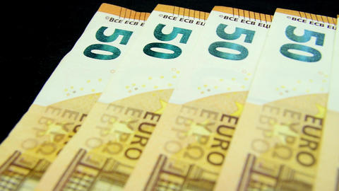 Money nicely ordered EURO bills stack banknote Live Action