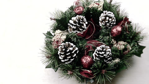 Christmas New Year arrangement pine cone glitter ball snow Live Action