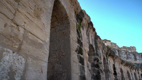 Ancient Roman ruins. Ancient amphitheater located in El Jem, Tunis. Passage Live Action