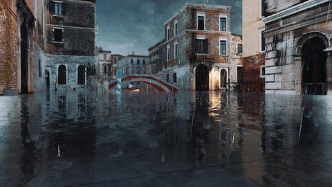 Empty street during flood Acqua Alta in Venice, Italy 3D Live Action