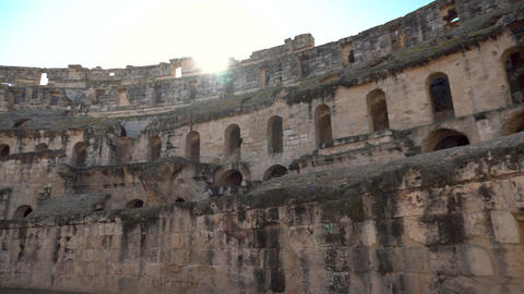 Ancient Roman ruins. Ancient amphitheater located in El Jem, Tunisia. Panoramic Live Action