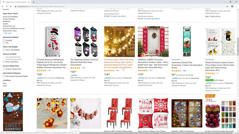Online shop user browse amazon website looking for Christmas decoration pillow Live Action