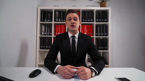 Businessman tell about product and service and make offer to You Live Action