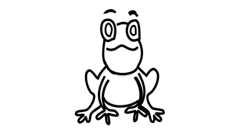 Frog icon Line Drawing Animation Transparent Background Vector Motion Graphics Loop CG動画