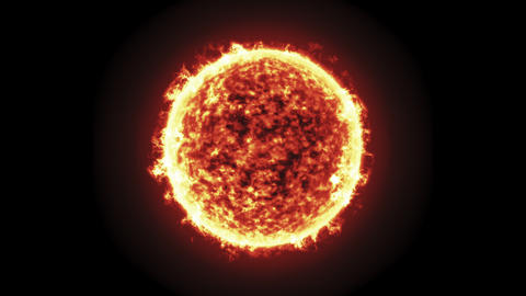 The Sun burning brightly, loopable animation on a black background Animation