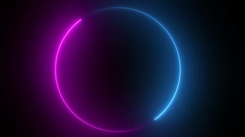 Abstract bright neon round frame Animation
