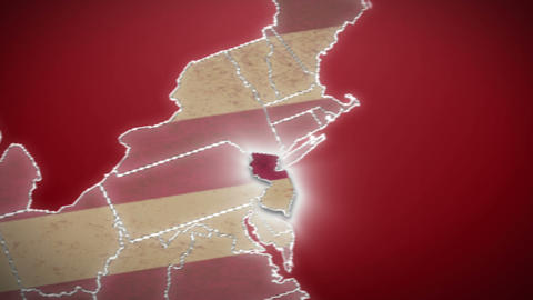 USA map, New Jersey pull out, all states available. Red background Footage