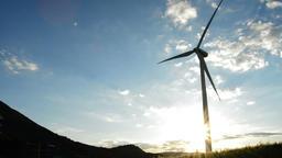 Wind turbine tower at sunset Footage