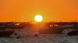 Golden Sunrise over the Mediterranean Sea with Boats Footage