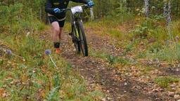 mountainbiker going uphill Footage