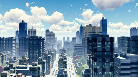 Abstract big city skyline and busy streets 3D animation Footage