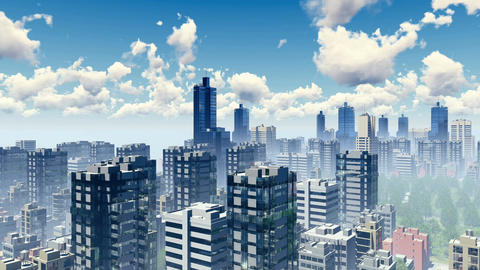 Skyscrapers of big city panorama 3D animation Footage