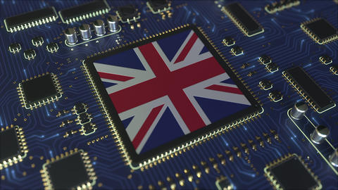 Flag of the United Kingdom on the chipset. British information technology or Live Action