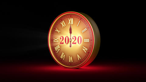 Magic instant. Fabulous red clock, midnight. New Year 2020. Christmas. 3D animation Animation