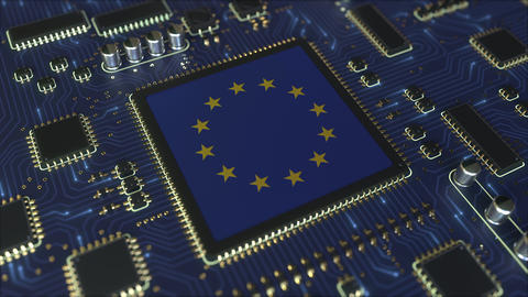 Flag of the EU on the operating chipset. European information technology or Live Action