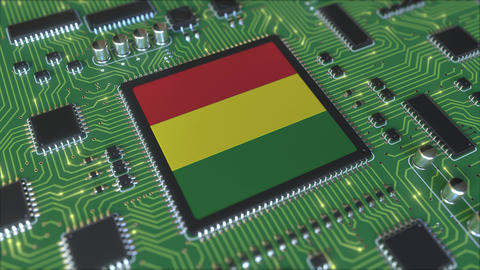 National flag of Bolivia on the operating chipset. Bolivian information Live Action
