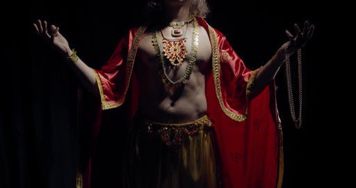 Surya the God of the sun with golden crown is standing…, Live Action