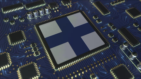 National flag of Finland on the operating chipset. Finnish information Live Action