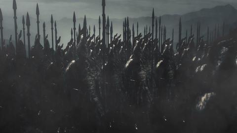 Elvish Warriors Standing in a Battle Formation Preparing for War Live Action