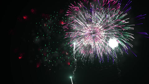 Multiple Colorfull Fireworks in a Clear Dark Background Stock Video Footage