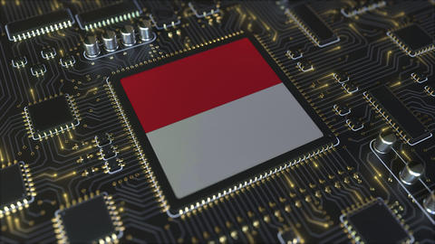 National flag of Indonesia on the operating chipset. Indonesian information Live Action