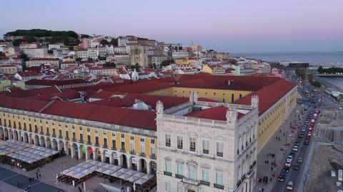 Commerce Square in Lisbon called Praca do Comercio - the central market square Live Action