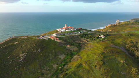 Cabo da Roca with its lighthouse is a famous landmark in Portugal Live Action
