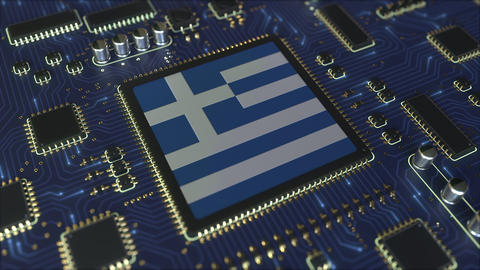 National flag of Greece on the operating chipset. Greek information technology Live Action