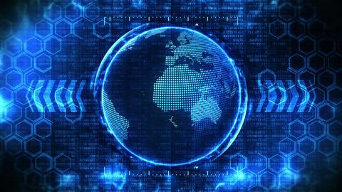 Earth globe 3d with business high tech background. Graph arrow loop animation. Hexagon geometric Animation