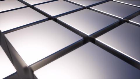 Metal boxes square blocks background. Grey background. 4k motion graphic. Black Live Action
