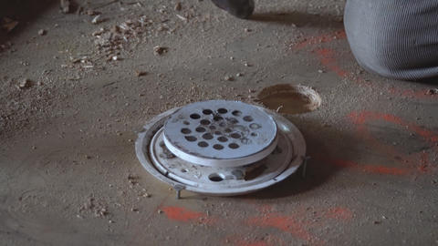 Floor drain from modern shower in cover is stainless steel, drain cover Live Action