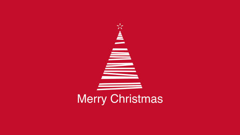 Animated closeup Merry Christmas text, white Christmas tree on red background Animation