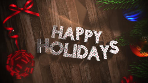 Animated close up Happy Holidays text, gift boxes and green tree branches with balls on wood Animation