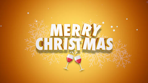 Animated closeup Merry Christmas text on yellow background Animation
