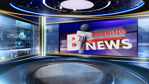 Breaking news with virtual studio Animation