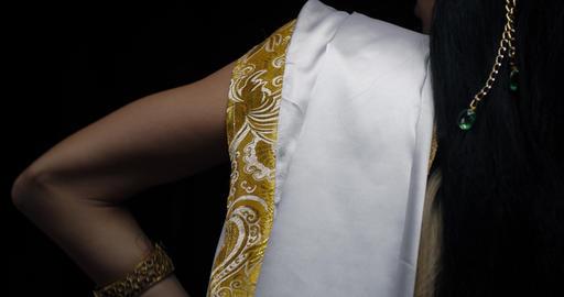 Close up of an indian goddess Saraswati wearing white dress, posing, 4k Live Action