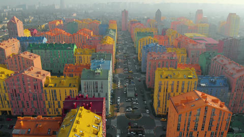 Smog in the city with colored buildings Live Action