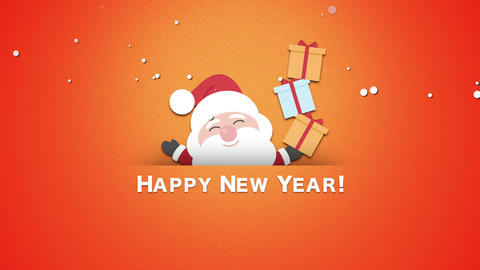 Animated close up Happy New Year text, Santa Claus with gift boxes Animation