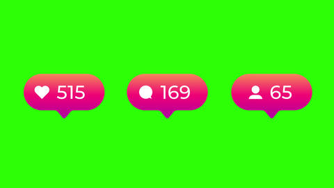 Pink Gradient Social Media Likes Comments and Followers Counter on Green Screen Animation