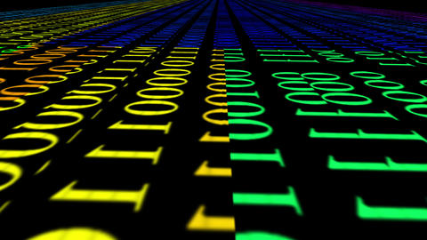 Digital animation of binary codes. Binary code background. Binary algorithm, data code, decryption Animation