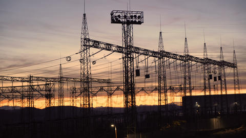 Silhouette Power Transmission Tower And High Voltage Power During Twilight Time Live Action
