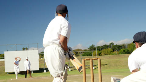 Bowler delivering ball during cricket match Live Action