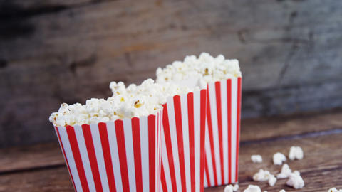 Popcorn arranged in a row with 4th july theme Live Action