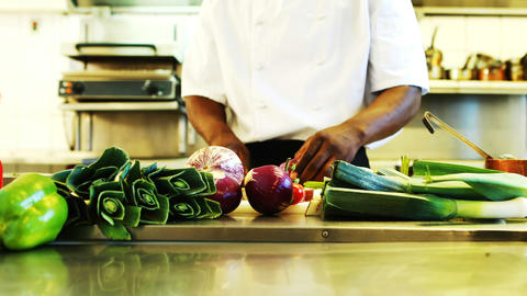 Chef cutting vegetables in commercial kitchen Live Action