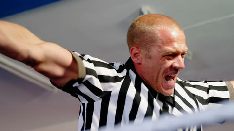 Aggressive referee shouting Live Action