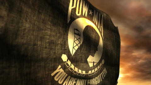 (1096) POW MIA Flag with Sunset Stock Video Footage
